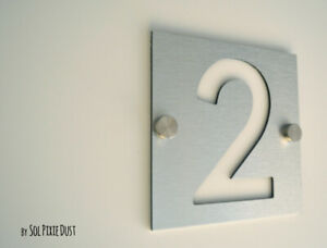 Modern House Numbers, One Number Square Alucobond with White Acrylic - Plaque