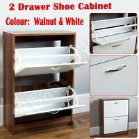 2 Drawer Shoe Storage Cabinet Wooden Shoe Rack Unit Cupboard Footwear Stand Unit
