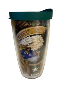 Tervis U.S. Army Strong Tumbler With Green Travel Lid 16 Fl Oz Military Eagle
