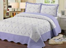 Embroidered 3 Pieces Reversible Bedding Quilt Set, Purple Color, King Size