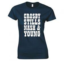 "CROSBY, STILLS, NASH & YOUNG ""BAND LOGO"" LADIES SKINNY FIT T-SHIRT"