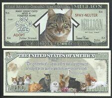 CAT RESCUE MILLION DOLLAR NOVELTY BILL w Gandhi quote - Lot of 2 BILLS