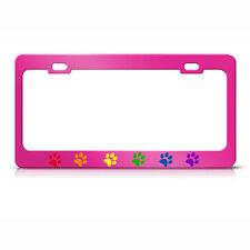 RAINBOW PAW GAY LESBIAN HOT PINK Metal License Plate Frame Holder