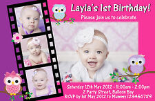 Personalised Owl Birthday Invitations 1st 2nd Boys Girls Animals Photo invites