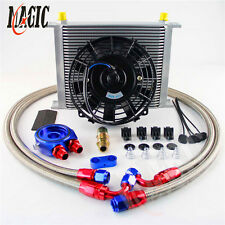 "8AN Universal 30 Row engine Transmission Oil Cooler KIT+ BL 7"" Electric Fan Kit"