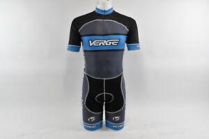Verge Men's XS Primo Power Lycra Short Sleeve Cycling Skinsuit, Grey/Blue