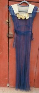 antique womens dress gown blue lace sheer 1920s goddess glam gown party vintage