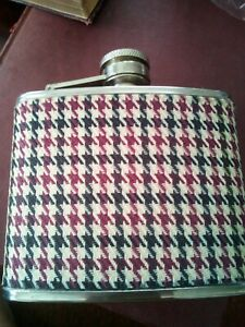 Stainless Steel Hip Flask Covered in Tweed Material 4oz