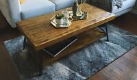 Rustic Wood Metal Reclaimed Farmhouse Style Coffee Table Industrial Rough Hewn