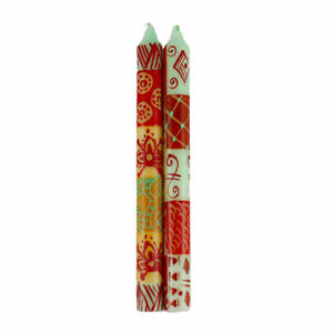 Hand Painted Candles in Owoduni Design (pair of tapers) Nobunto