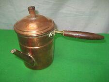 Vintage Solid Copper Tea Coffee Pot Brown Wood Side Handle