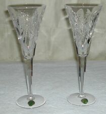 "(2) Waterford Crystal - Millennium - Health - 9 1/4"" Champagne Toasting Flutes"