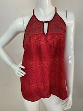 Lucky Brand Women's New L Red Embroidered Sleeveless Tank Top Cami Blouse NWT