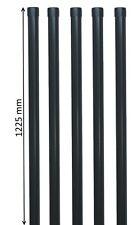 5 Zaunpfähle rund Metall Ø 34 mm f. 1m Zaun-Anlage Schweiß-gitter-draht in grau