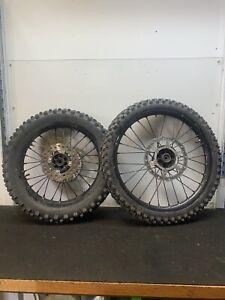 Kawasaki Kx 85 2005 Pair Of Big Wheels Front & Back Rear Tyres Discs