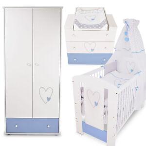 Babyzimmer Blau Babybett Gitterbett Kinderbett Wickelkommode Schrank Babyzimmer