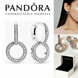 New Genuine Pandora Silver S925ALE Studs Pavé Double Hoop Earrings With/BAG+BOX