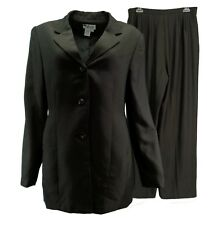 Style&co. Collection Womens Pant Suit 10 Pinstripe Brown Black Lined 2 Pc Career
