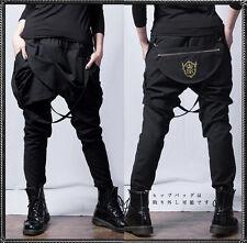 Gothic Japanese Harajuku Irregular Pants Punk Lolita Black Cool Trousers #M-9