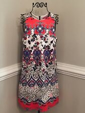 Betsey Johnson Womens 8 Blue, Black, White & Coral Sleeveless Floral Lined Dress