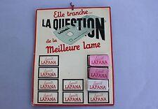 Présentoir mural magasin ELLE TRANCHE LA QUESTION lame Lafana rasoir barbier