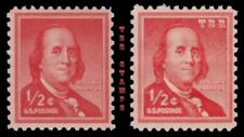 1030 & 1030a Franklin ½c Liberty Issue Wet Dry Print Variety Set MNH - Buy Now