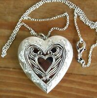 A Beautiful 925 Silver Large Heart Shape&Pattern Locket Pendant Necklace