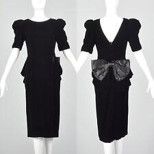 XS 1980s Black Velvet Peplum Dress 80s Does 40s Vintage Puff Sleeve Bow VTG Glam