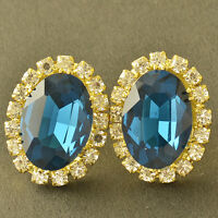 Fashion Yellow Gold Filled Blue Topaz clear CZ Womens Flower lucky Stud Earrings