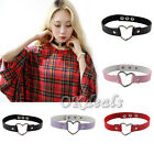 Women Favorite Punk Goth Leather Rivet Heart Ring Collar Choker Funky Necklace A