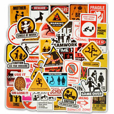 50Pcs Lot Warning Sign Stickers Graffiti Decal Sticker for DIY Laptop Luggage