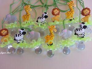 Jungle Safari NOAH'S Pacifier Necklaces Baby Shower Games Prizes Favors Animals