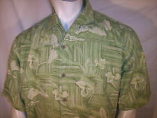Tommy Bahama Large/XL White Orchid on Green Silk Hawaiian Shirt