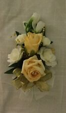 ivory & Gold corsage wedding flowers or prom