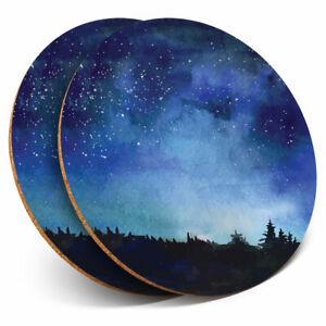 2 x Coasters - Pretty Night Sky Stars Galaxy Home Gift #3514