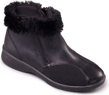 Ladies Padders Black Leather Ankle Boot - Adele Black 8 UK Extra Wide