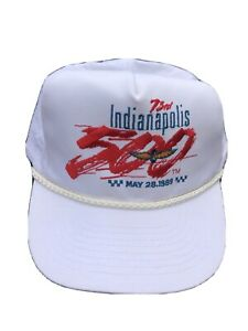 Vintage Indianapolis 500 1989 Patch 73rd Racing White Snapback Hat With Cord