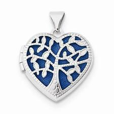 NEW SOLID 14K WHITE GOLD HEART WITH TREE LOCKET PENDANT FOR NECKLACE 1.61g