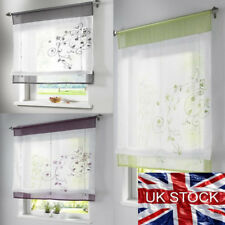 UK 1Panel Retro Rod Liftable Bathroom Window Roman Curtain Floral Sheer Valances