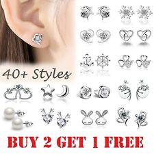 Sterling Silver 925 Stud Earrings Cubic Zirconia Earring Crystal Women Girls