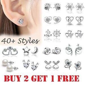 925 Sterling Silver Colour Stud Earrings Cubic Zirconia Earring Crystal Women