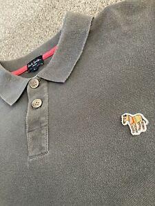Mens Paul Smith Cotton Polo Shirt Grey Large
