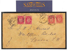 MS2624* 1896 NORWAY DOUBLE FRANKING *Bureau Re-Expe*RAILWAY Cover GB WAR OFFICE