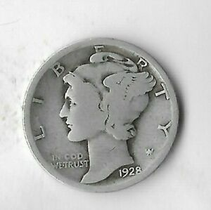 Rare 1928 US Silver Liberty Mercury Collection Dime WWII Antique WWII Coin R60