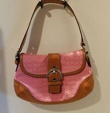 COACH Pink Signature Fabric Leather Trim Purse - Gorgeous - Excellent Condition