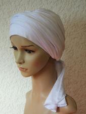White turban, head snood, chemo head wear, turban with long ends, volume tichel