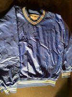 Vintage Bike Pull-over Jacket Men's Sz.l Large Blue White Stripes V Neck
