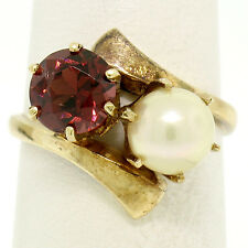 Antique 14K Yellow Gold 1.65ct Round Garnet & 7mm Pearl Bypass Ring Size 6.5