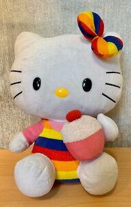 "TY 2011- Rainbow Hello Kitty Holding Cupcake - Plush Soft Toy - 12"""