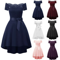 Women Formal Mini Lace Chiffon Dress Prom Evening Party Cocktail Bridesmaid Gown